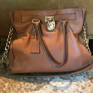 Michael Kors Hamilton Satchel Brown Pebble Leather